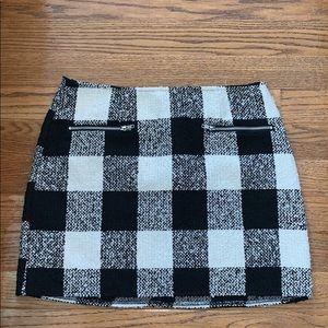 FOREVER 21 black cream plaid wool blend skirt OX